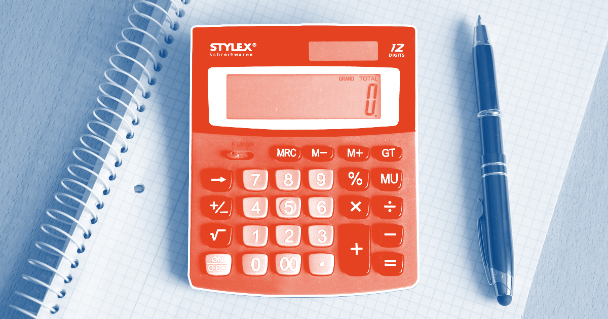 calculator red on blue
