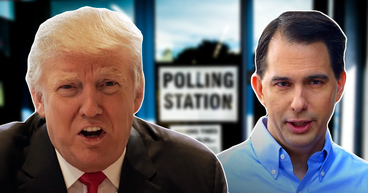 scott walker and donald trump in front of polling station