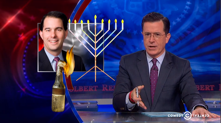 scott walker stephen colbert molotov