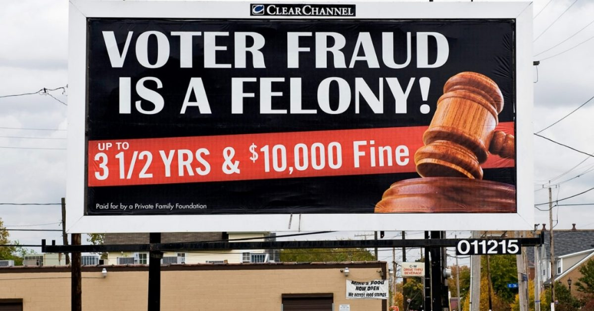 voter suppression billboard