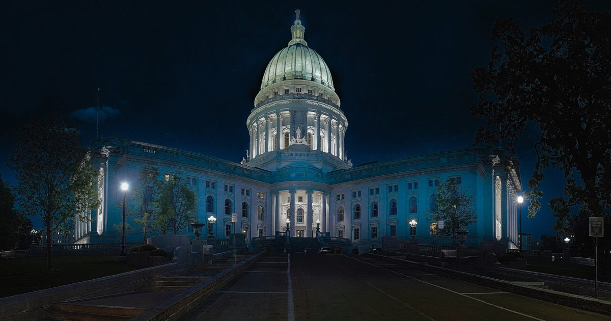 wisconsin state capitol building at night